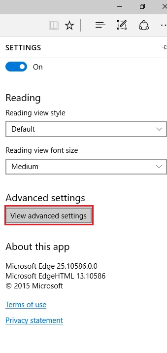 View advanced settings in edge browser