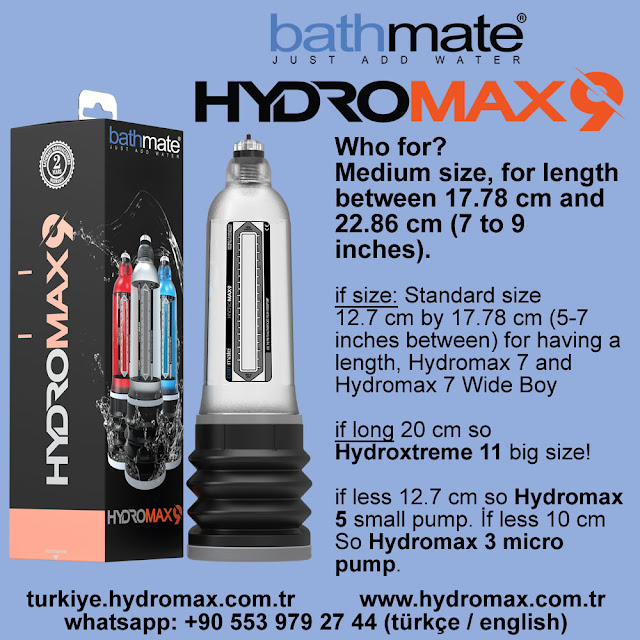 Bathmate Hydromax 9 penis pump Size chart. Best penis pumps from bathmate.