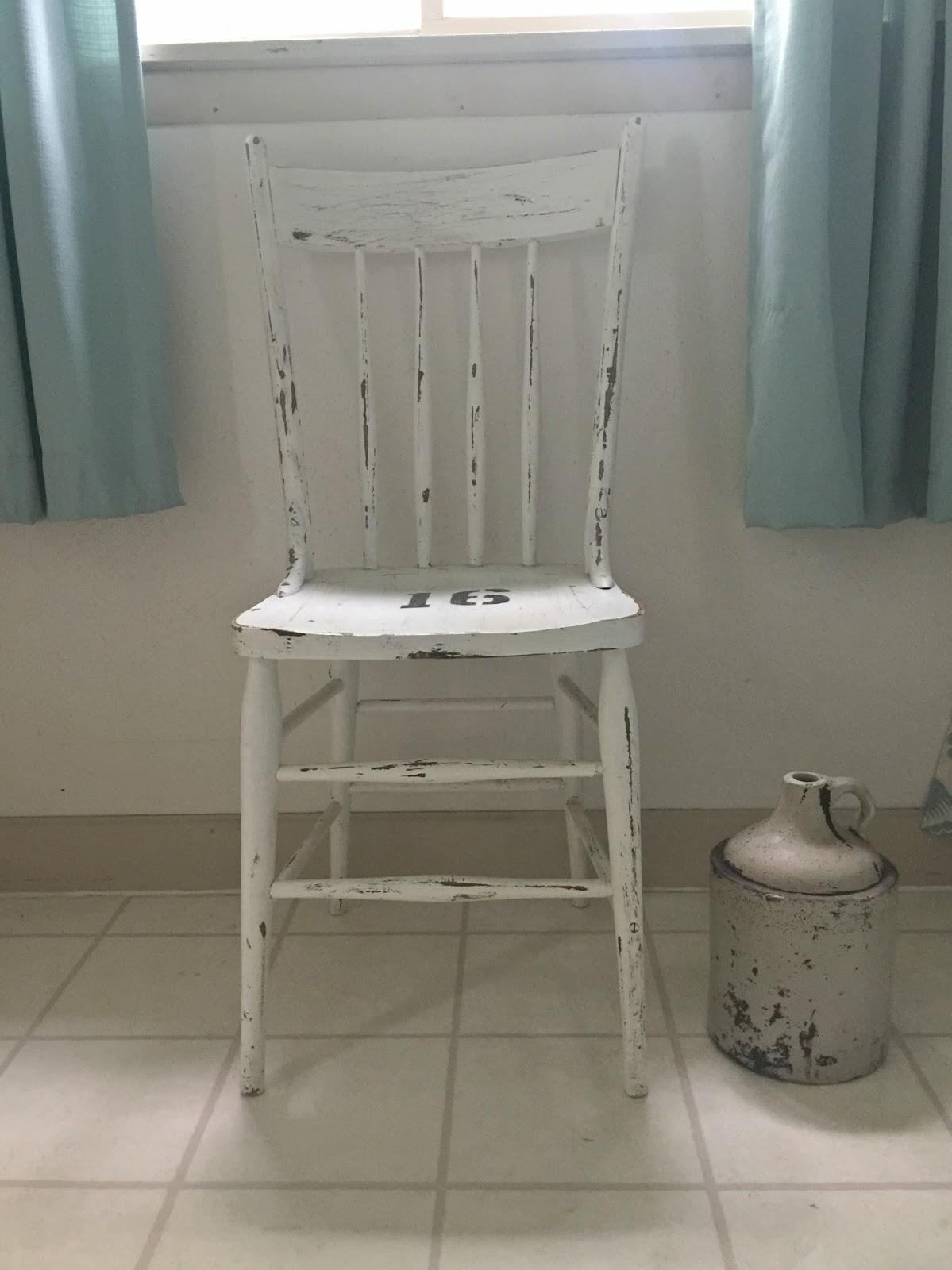 White Painted Antique Farmhouse Chair
