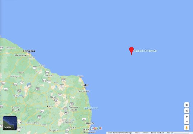 Localização do Arquipélago de Fernando de Noronha