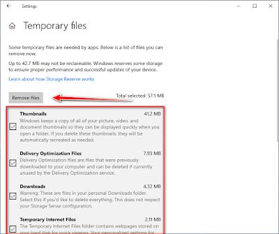 إزالة الملفات المؤقتة في ويندوز 10