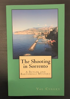 The cover of my mystery novel, The Shooting in Sorrento