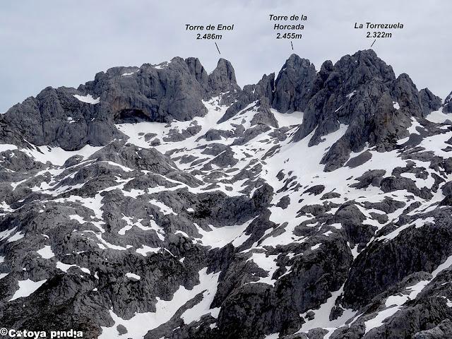 Vistas al Corníon desde la cuerda del Camperón en Picos de Europa.