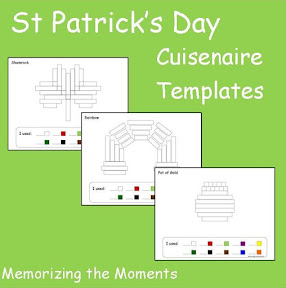 St. Patrick's Day themed printable math templates for using Cuisenaire Rods