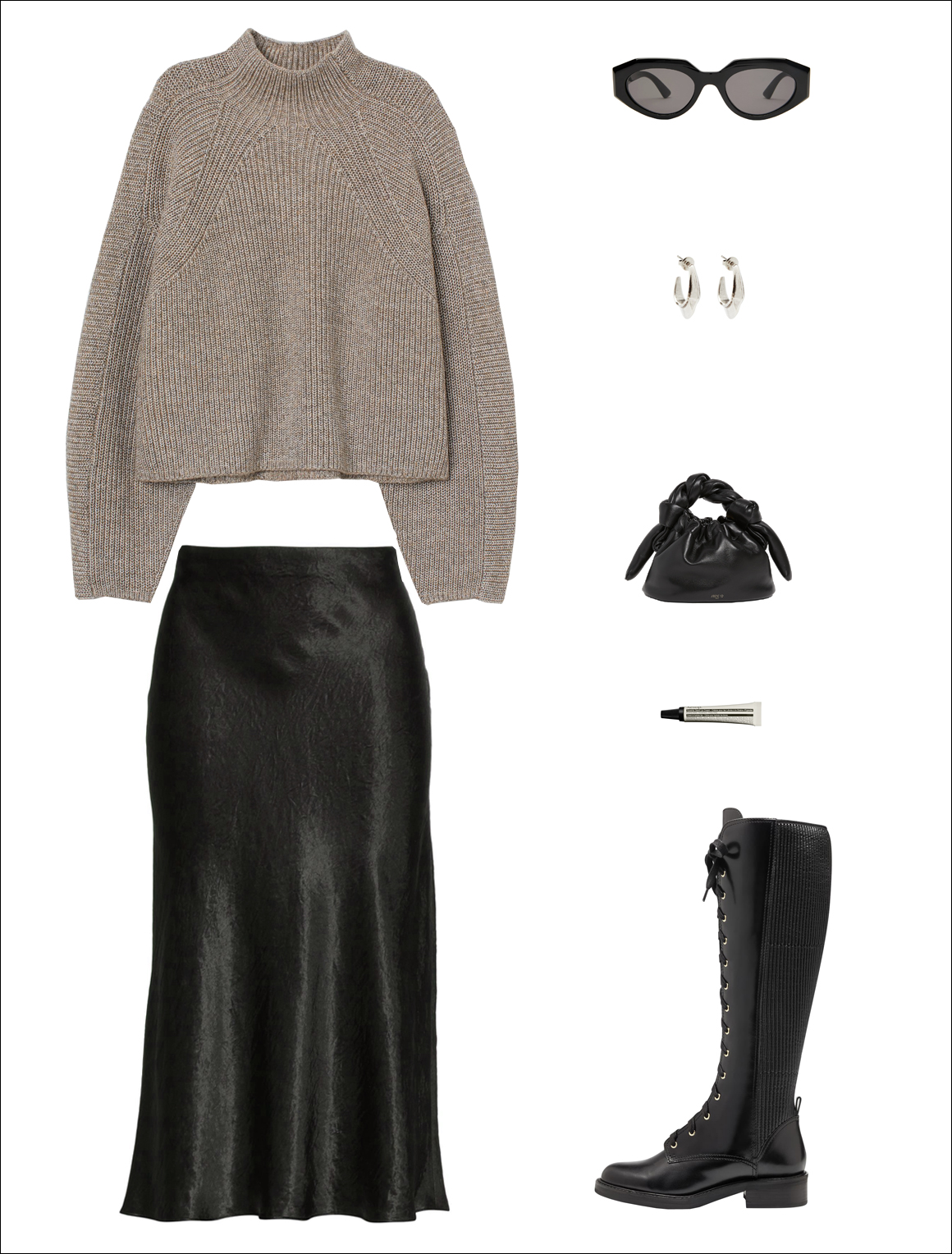 How to Wear a Slip Skirt for Fall and Winter — Under $ 100 turtleneck sweater, Vince black midi satin skirt, black mini knotted bag, Bottega Veneta cat-eye sunglasses, and lace-up knee-high combat boots