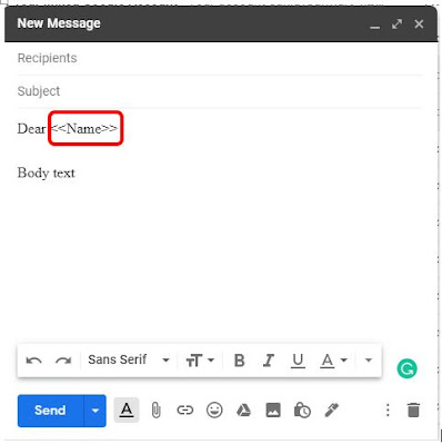 Email Body for mail merge gmail excel