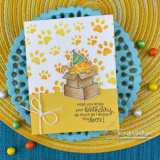 Cupcake Inspirations Challenge #500 | Cat Birthday Card by Jennifer Jackson | Newton Loves Boxes Stamp Set, Newton Loves Cake Stamp Set and Pawprints Stencil by Newton's Nook Designs #newtonsnook #handmade