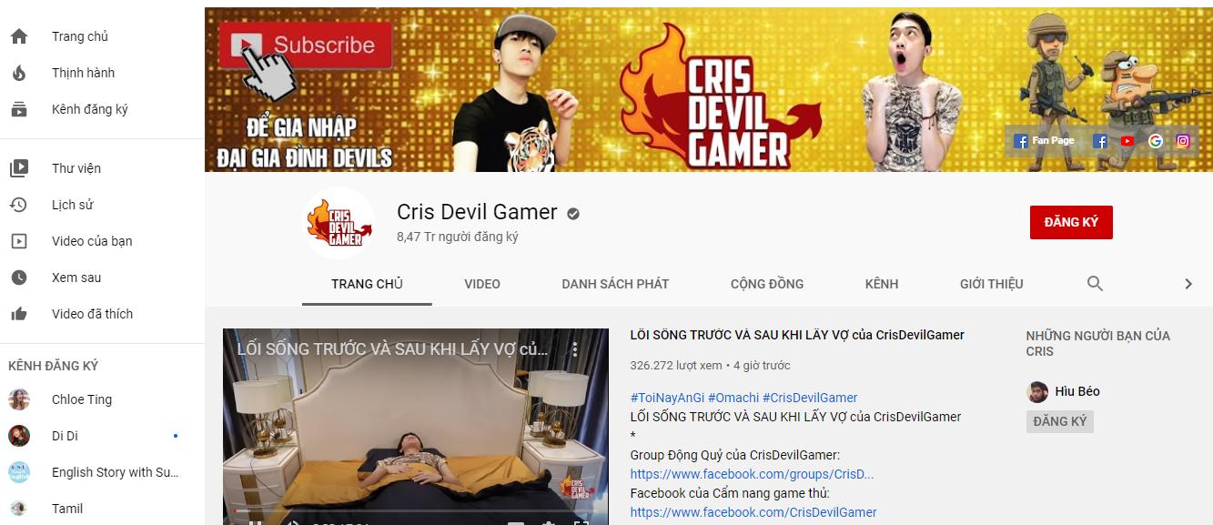 Cris devil gamer kiếm tiền youtube