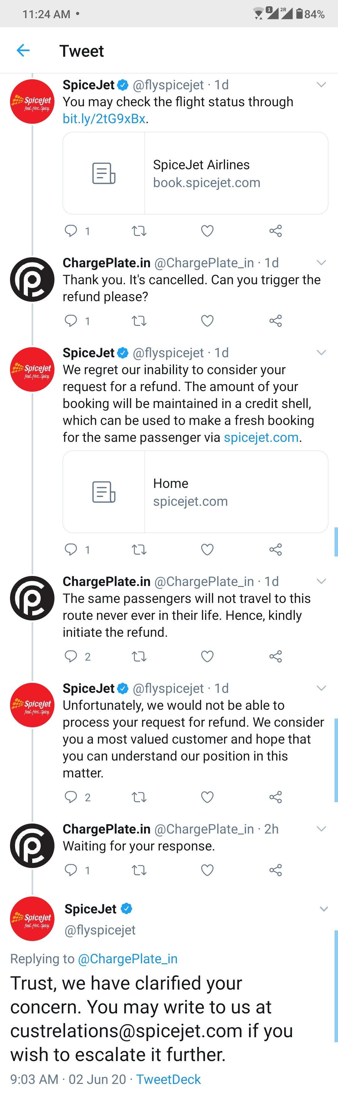 SpiceJet Tweet