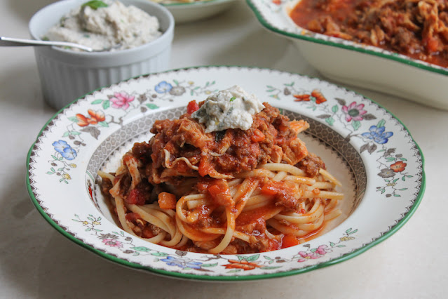 Food Lust People Love: This Italian Sausage and Chicken Ragù is not only delicious stirred through with a fresh herby ricotta, thanks to the Instant Pot, it is also quick enough for a weeknight meal.