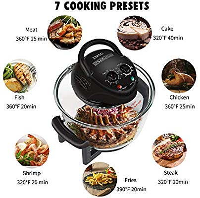 35% off ZMSD Oil-less Air Fryer,18Quart,Infrared Convection Halogen Oven Countertop,Bake, Grill, Steam Broil, Roast & Air-Fry, Includes Glass Bowl,Tong,Broil Rack,Pan and Toasting Rack,18 Quart 1400W,120V
