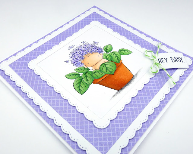 Handmade card with cute hydrangea baby in a flower pot (image from Stamping Bella)