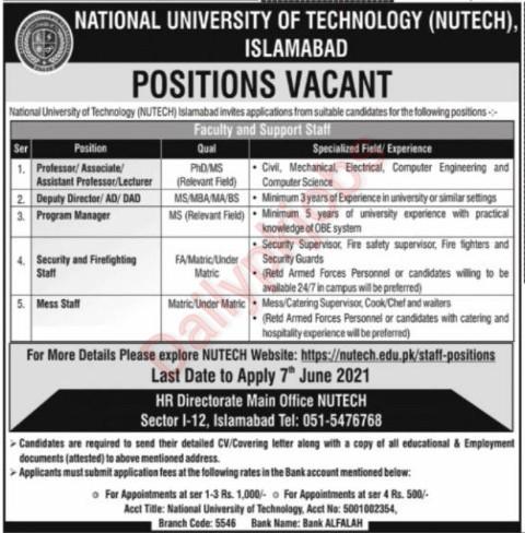 Latest Jobs National University of Technology (NUTECH) 2021