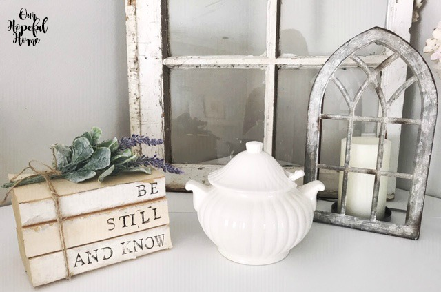 Be Still And Know hand-stamped book bundle mantel decor soup tureen