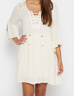 rue21 Ivory Bell Sleeve Dress by Clover + Scout