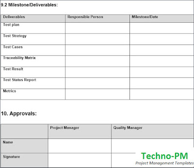Deliverables and Approvals Table