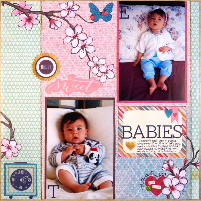 Hello Sweet Babies scrapbook page by June Anderson, On Motherhood essay by June Anderson, baby scrapbook page by June Anderson, Emily Anderson baby photo, Takeo Anderson baby photo