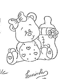 risco de ursinha com mamadeira para pintar