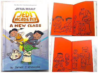 Giveaway! Copy of Jedi Academy: A New Class with endpapers filled with doodles.