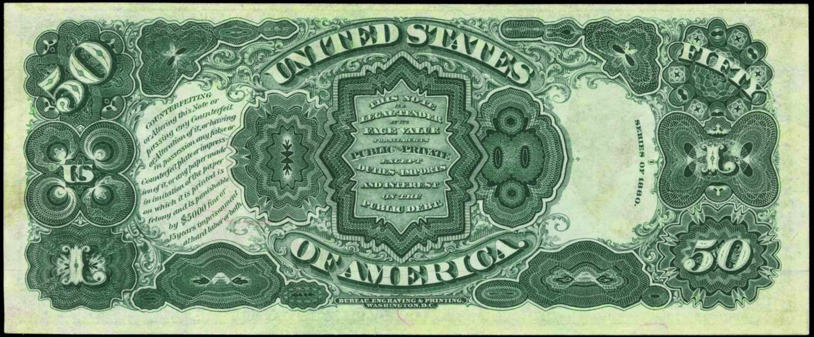 1880 50 Dollars Legal Tender Note