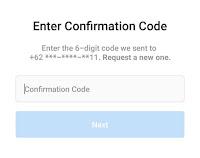 Masukkan kode verifikasi reset password ig