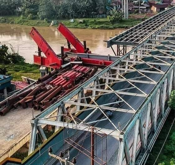 Begini Kondisi Jembatan Senilai Rp 75 Milyar Ngeri Jembatan Sei Wampu Stabat Sekarat Kapan Saja Bisa Ambruk