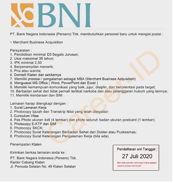 Lowongan Kerja PT Bank Negara Indonesia D3 segala jurusan Juli 2020