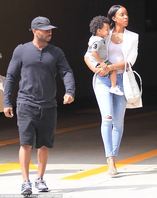 Aww… Check Out These Photos Of Kelly Rowland, Her Young Son And Her Husband In Beverly Hills