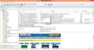 Image shows Eml Viewer Pro document viewer main screen with an html email rendered.