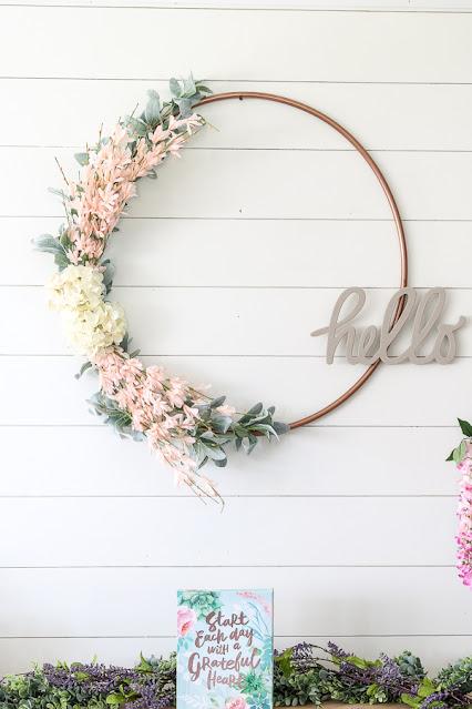 modern hula hoop wreath