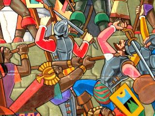 "Pintura de Juan Bravo sobre la ""Historia de Qosqo"""
