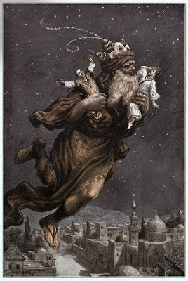 Jinn carrying two people while flying from the Arabian nights
