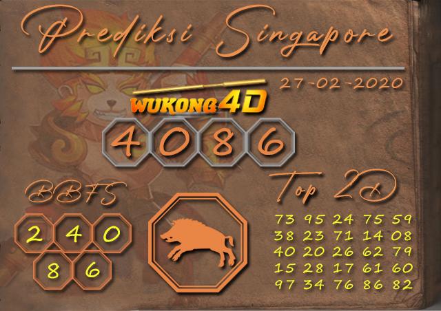 Prediksi Togel SINGAPORE WUKONG4D 27 FEBRUARI 2020
