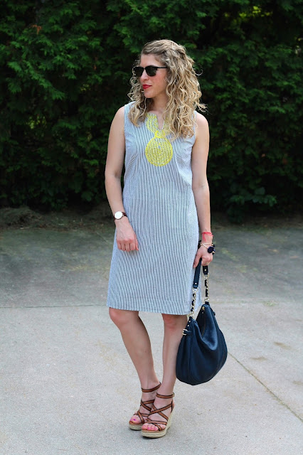 seersucker dress, wedge sandals, blue kate spade bag