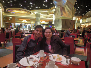 A couple travel blogger eating breakfast buffet at Cafe Deco at The Venetian Hotel in Macau