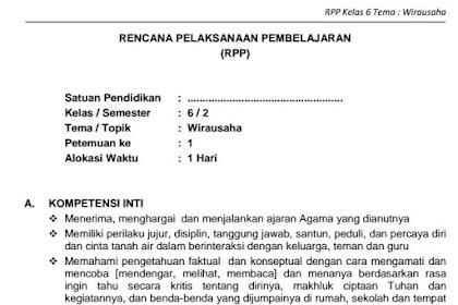 Download RPP SD Kelas VI Semester 2 Tema Wirausaha Kurikulum 2013 Format PDF