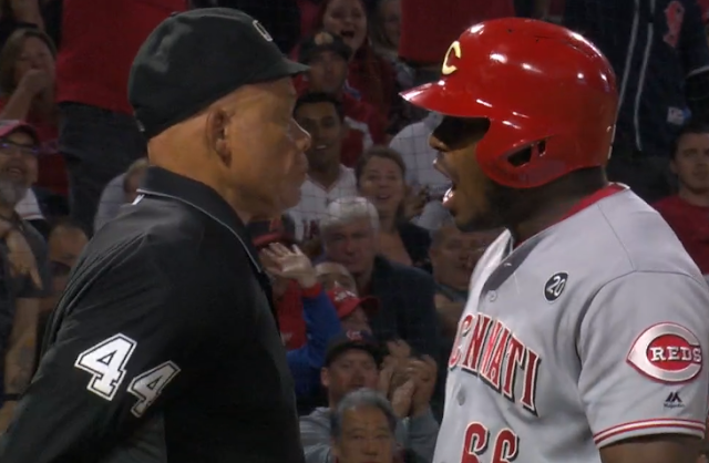 Yasiel Puig ejected by home plate umpire Kerwin Danley for arguing balls and strikes