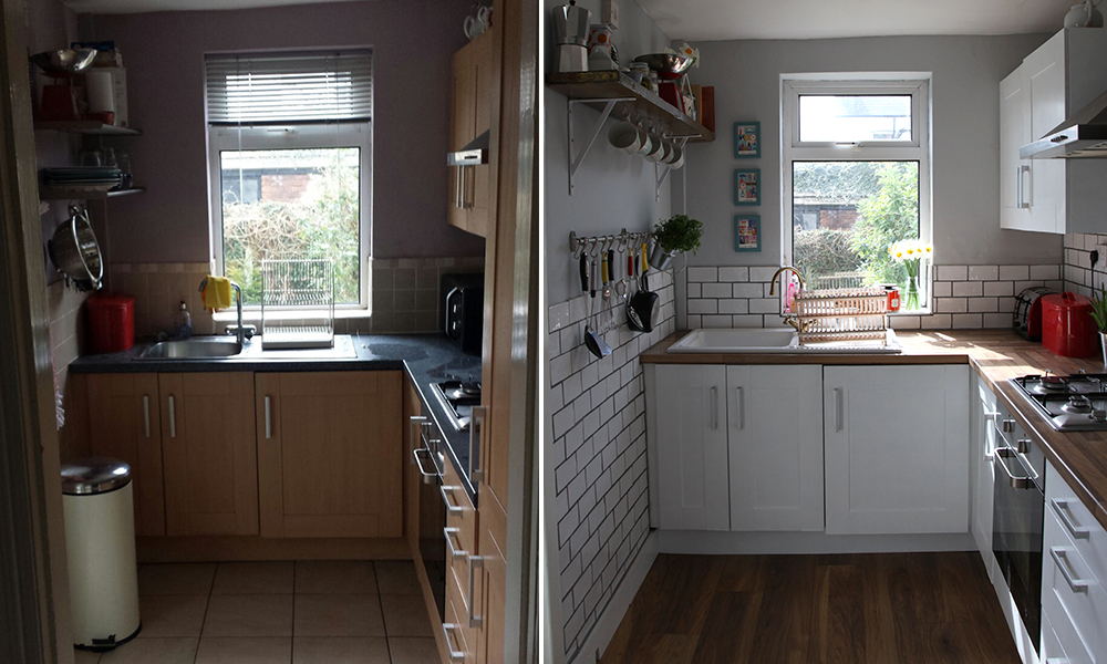 A tiny kitchen makeover before after make do and mend for Before after kitchen makeovers