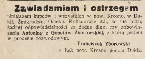 Ogłoszenie prasowe Dukla 1929 Krosno