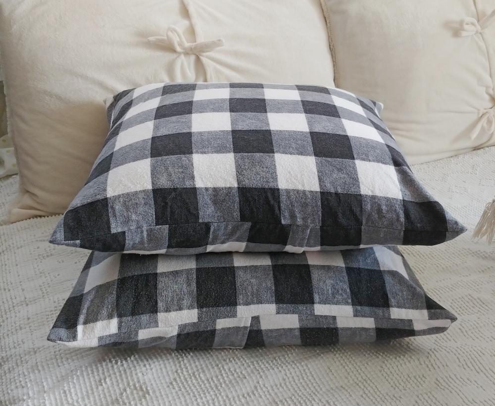 DIY buffalo check pillow covers