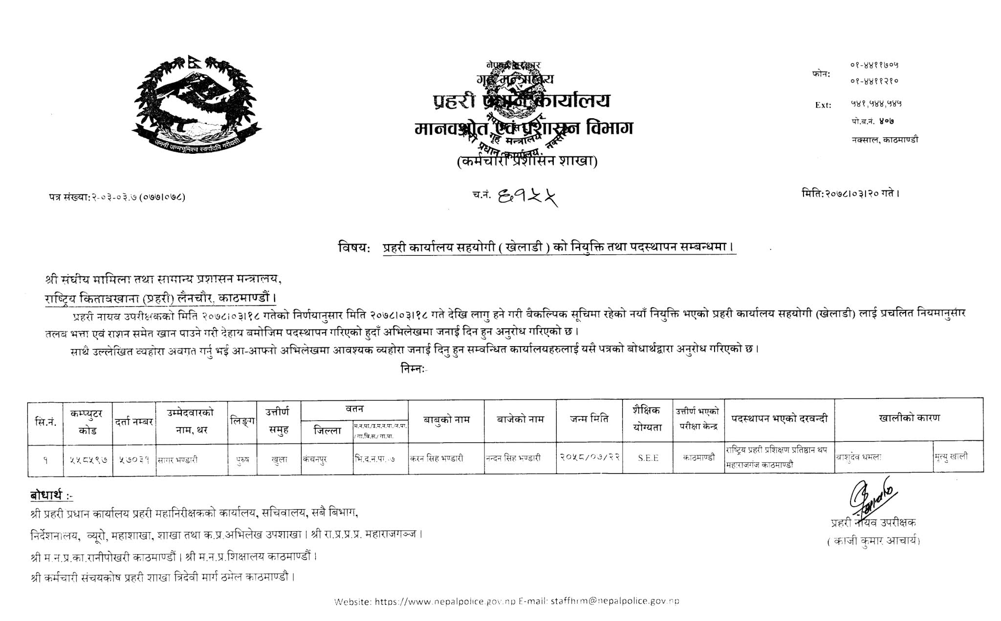 Police Office Assistant Appointment & Posting List (Player):