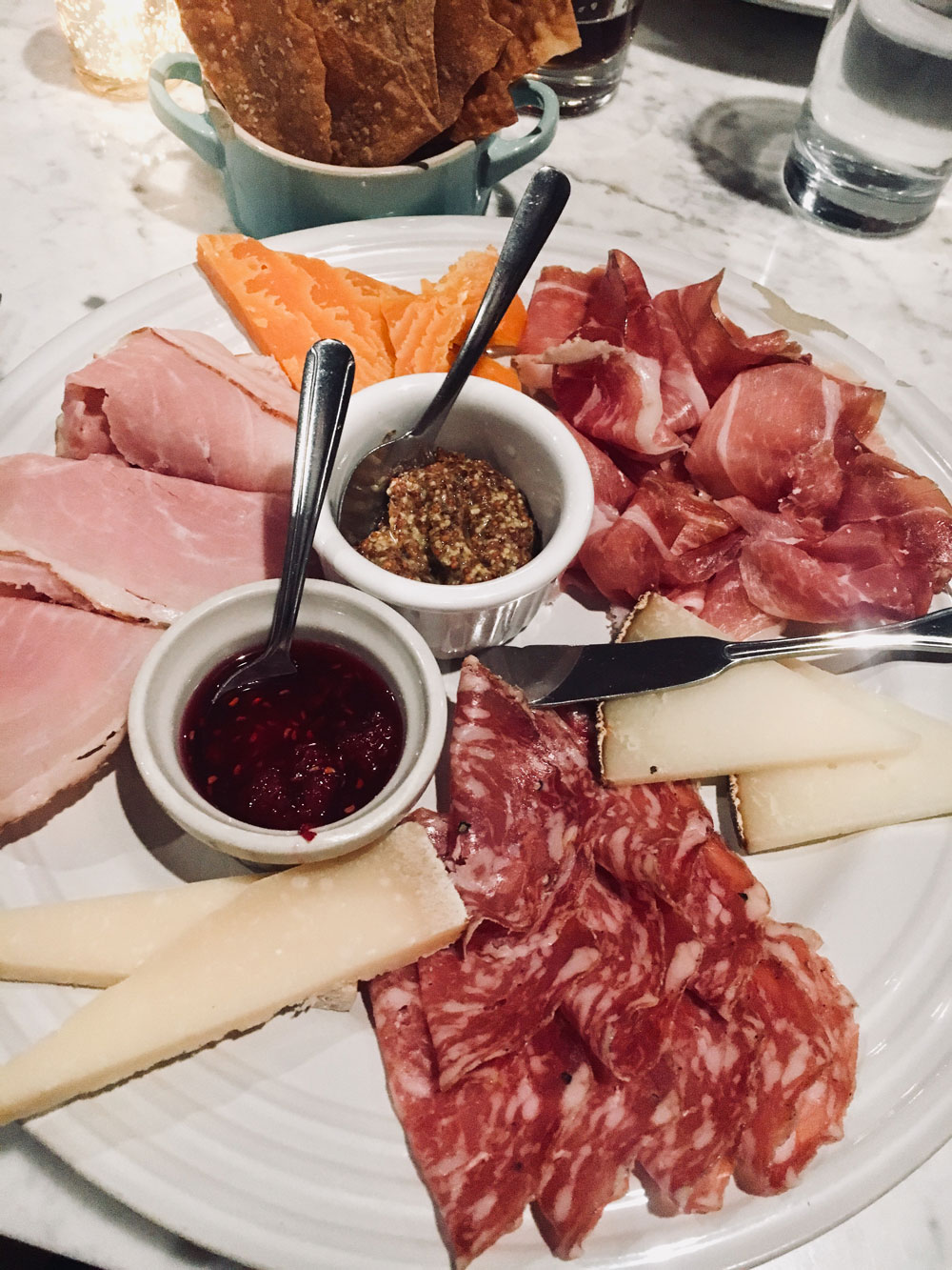 the cheese and charcuterie board at en croute in okc