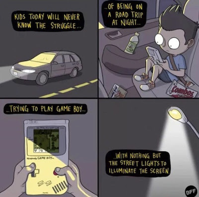 being on a roadtrip at night trying to play game boy