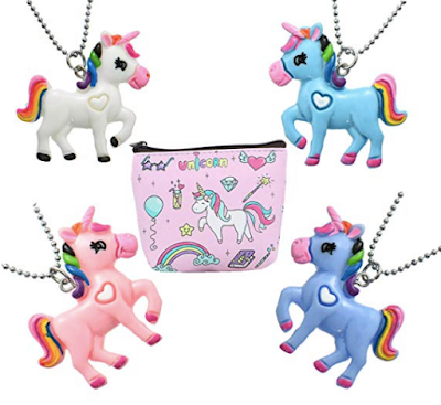 4-Pack Unique Best Friend Unicorn Necklace for Girls Party Favors with Coin Purse