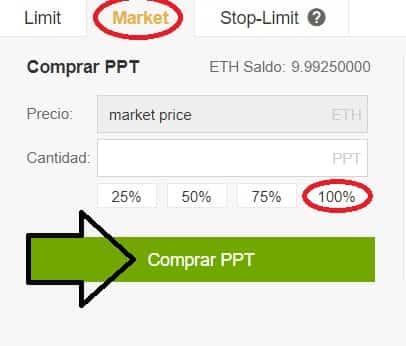 comprar populous criptomoneda PPT euros binance