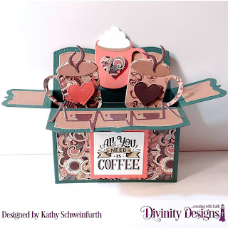 Stamp Set: But Coffee First, Stamp/Die Duos: Cocoa & Coffee, Custom Dies: Surprise Box Wide, Coffee Heartbeat, Scalloped Rectangles, Rectangles, Paper Collection: Latte Love
