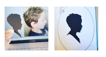Silhouette of boy with picture before and silhouette after