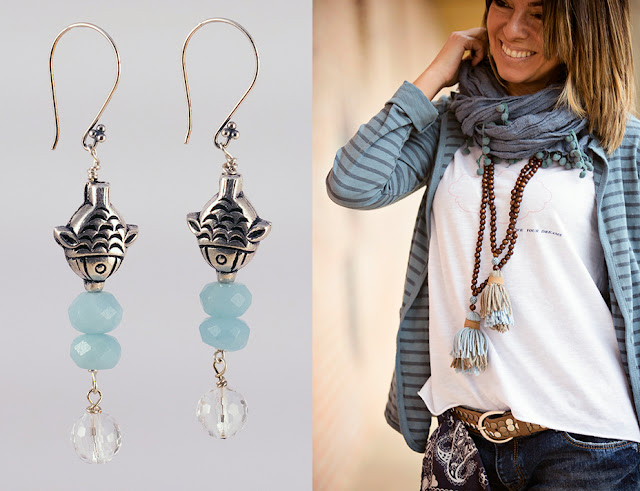 orecchini amazzonite e pesce d'argento