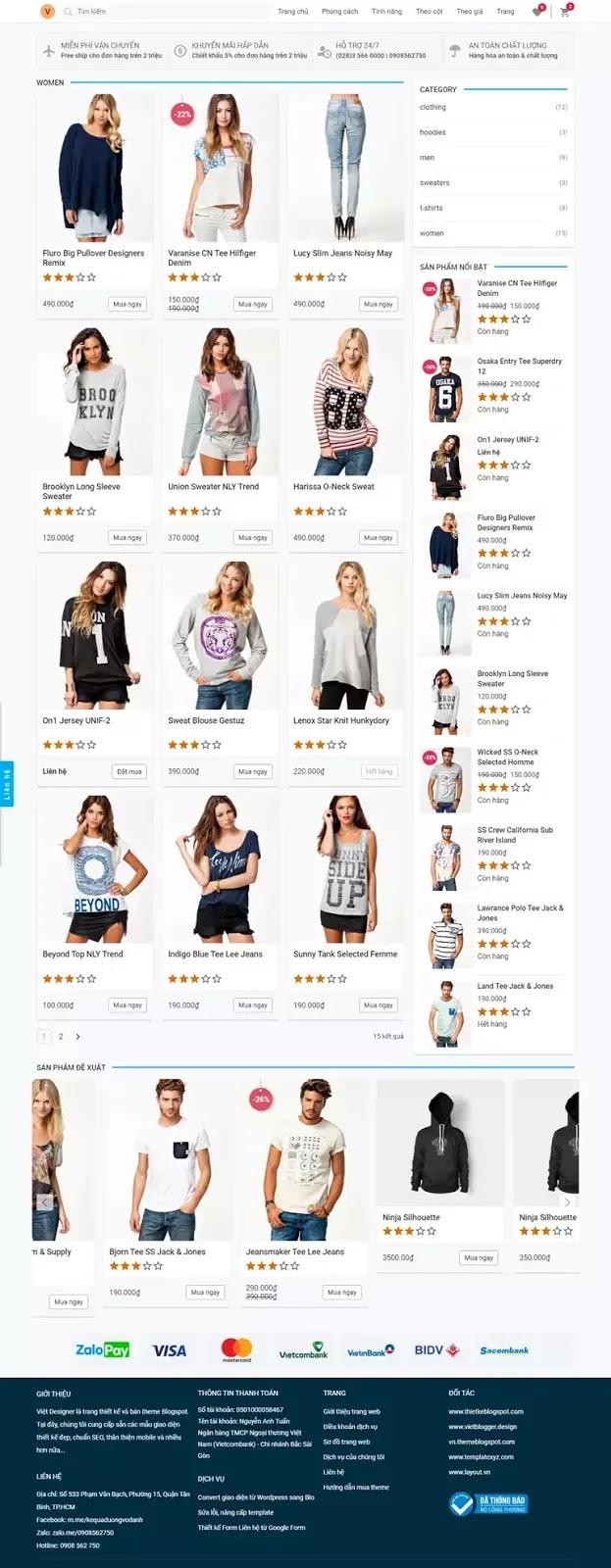 Trang danh mục giao diện website bán hang blogspot