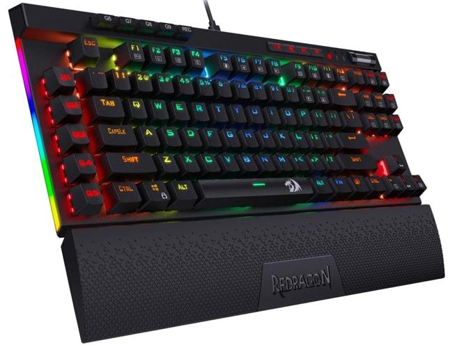Redragon K587 Tenkeyless Black Mechanical Keyboard with Wrist Rest pad.